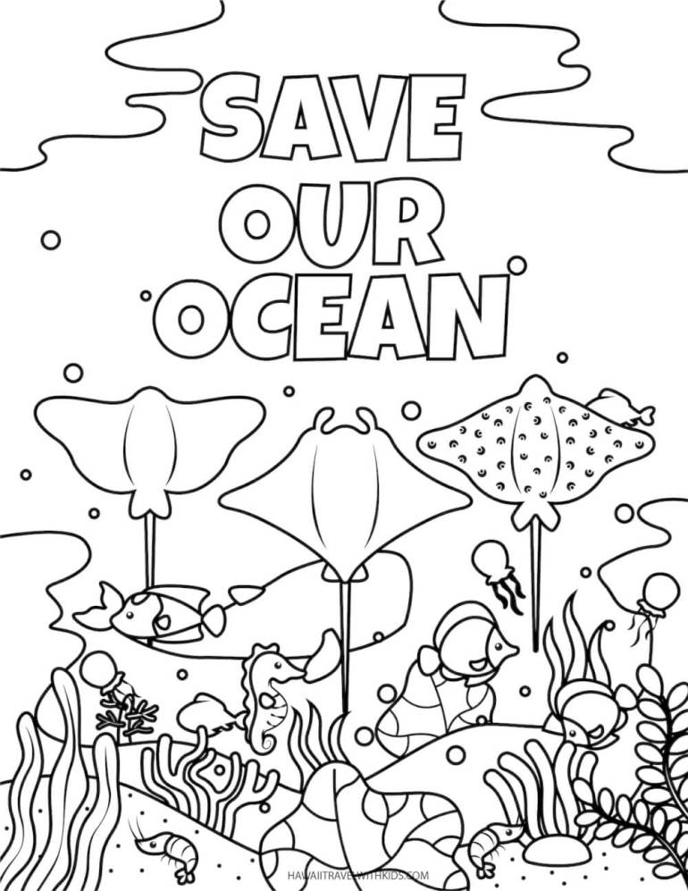 Get these free beach coloring pages by top Hawaii blog Hawaii Travel with Kids. Image of an under water scene with text that says save our ocean.