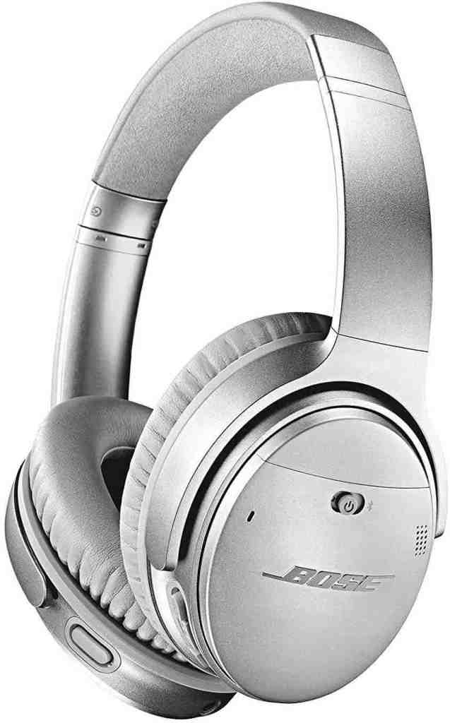 I always add my noise cancelling headphones to my Hawaii packing list for the airplane. Image of silver Bose noise cancelling headphones.