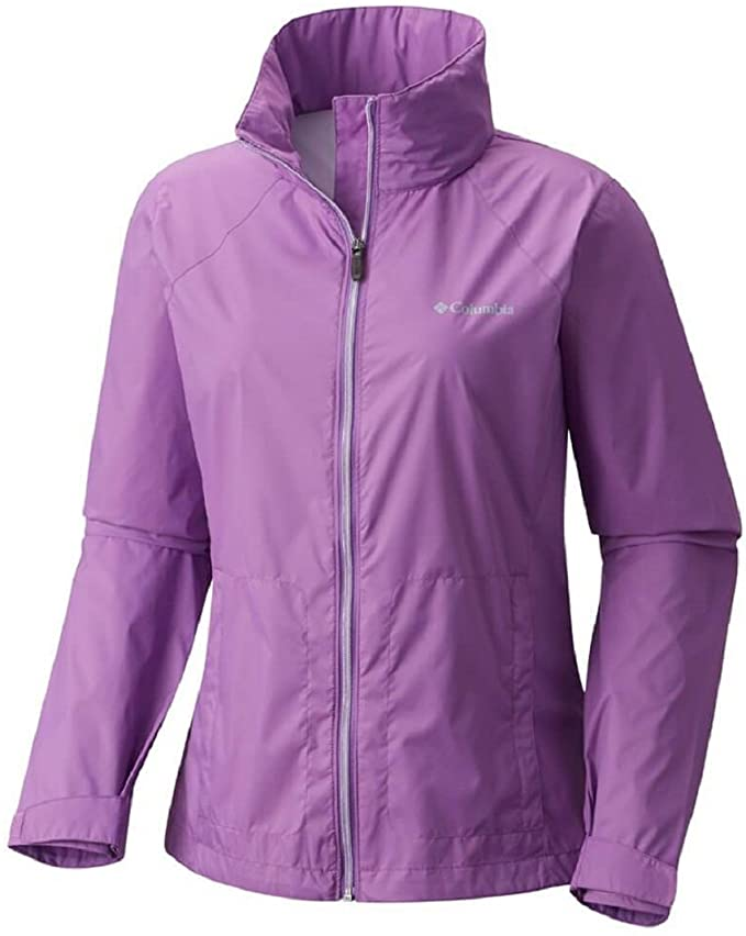 Don't forget to include a jacket on your Kauai packing list. Image of a purple Columbia rain jacket.