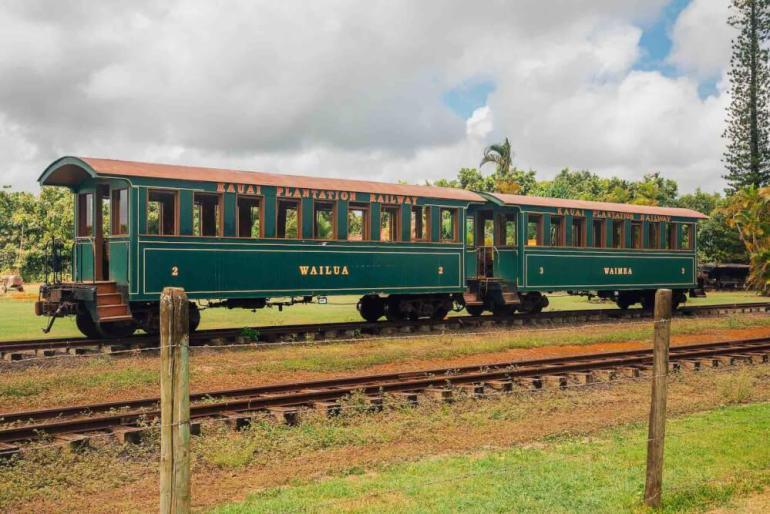 Image of a green train at Kilohana Plantation on Kauai.