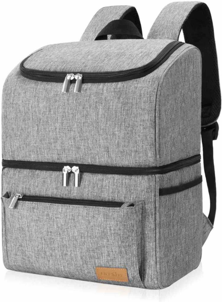 Want an awesome beach backpack for Hawaii? Check out this insulated cooler bag. Image of a grey cooler backpack.