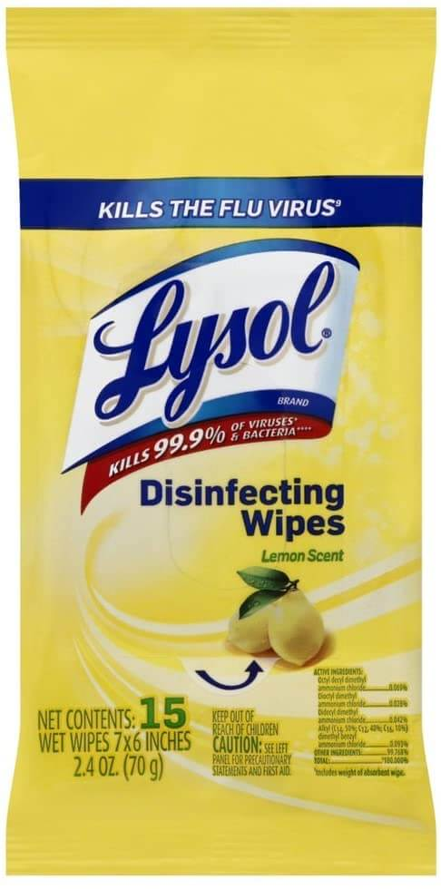 We always travel with Lysol disinfecting wipes. Image of a travel pack of Lysol wipes.