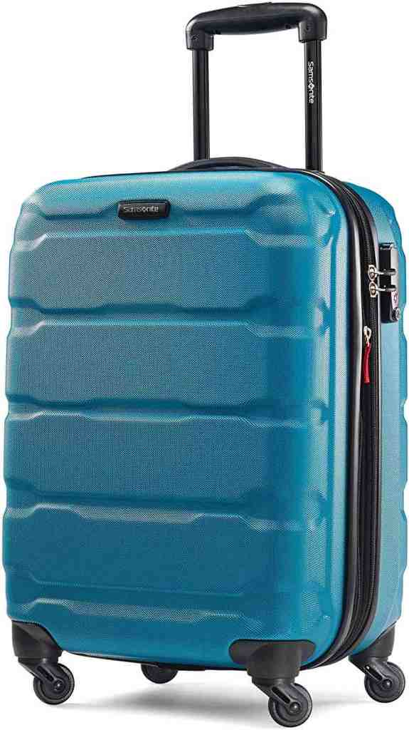 This is one of the best carry on rolling suitcases. Image of a blue rolling suitcase.