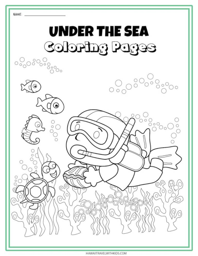Get this sea creatures coloring page by top Hawaii blog Hawaii Travel with Kids. Image of a snorkeling kid.