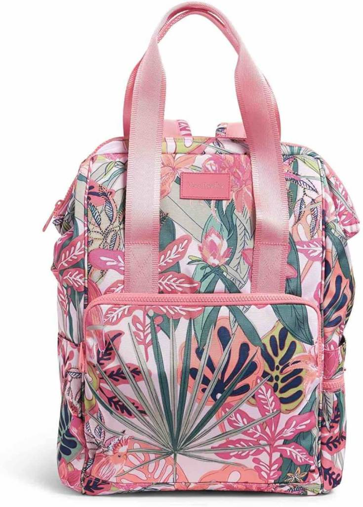 Looking for the best beach backpack for your next trip to Hawaii? Check out this Vera Bradley backpack. Image of a pink tropical print cooler bag backpack.