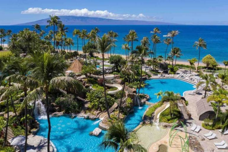 The Westin Maui is one of the best kid friendly Maui hotels. Image of the pool area at the Westin Maui.