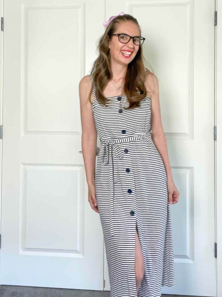 This is what the striped dress looks like when I did my Wantable try one. Image of a woman wearing a striped dress.