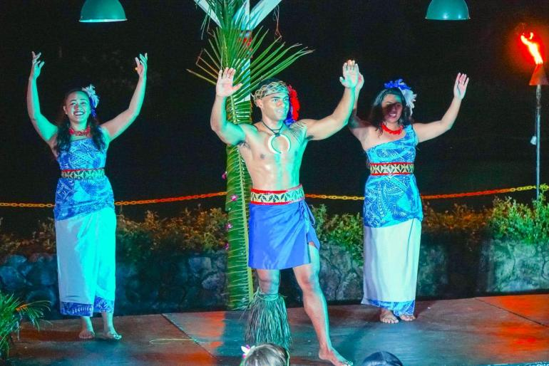 Toa Luau is the best luau on Oahu's North Shore. Image of Samoan dancers performing on stage at night.