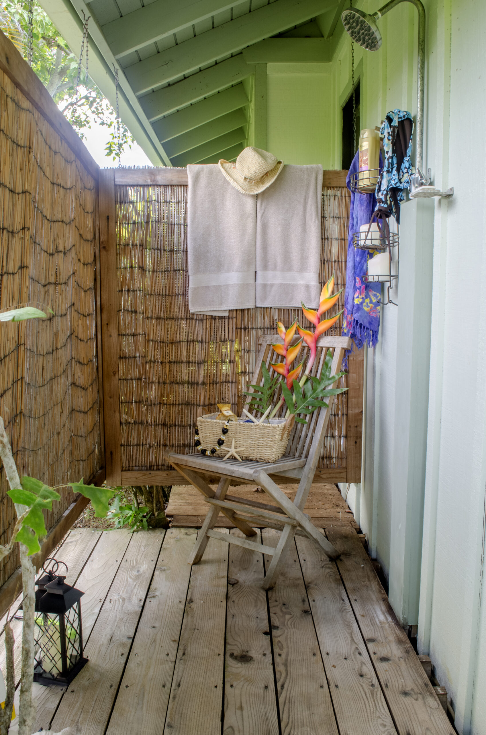 Tropical outdoor shower in our Kauai Rental