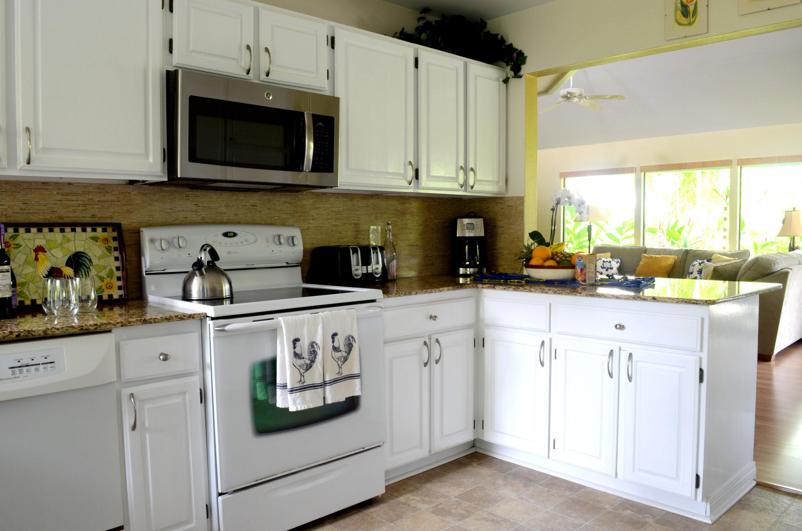 Large Kitchen overlooks living space in Kauai Rental