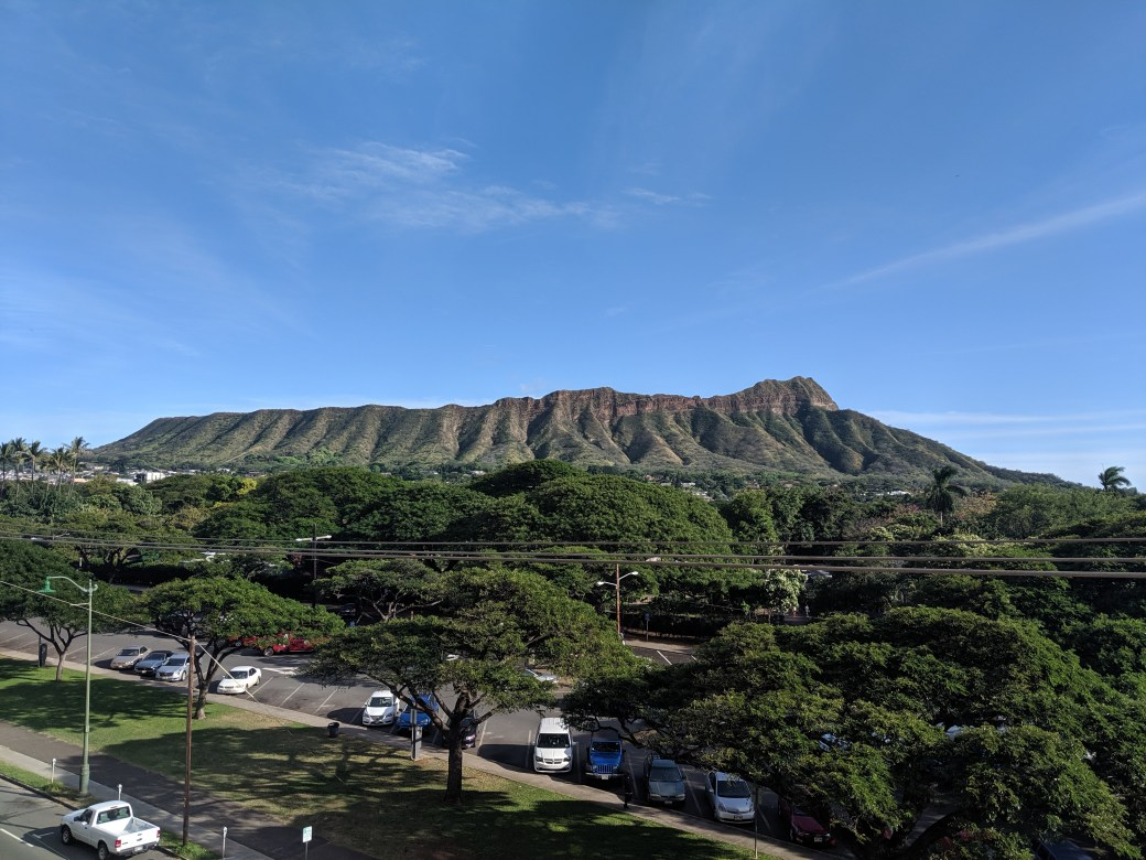 A view of Leahi from Deck Bar and grill in Waikiki