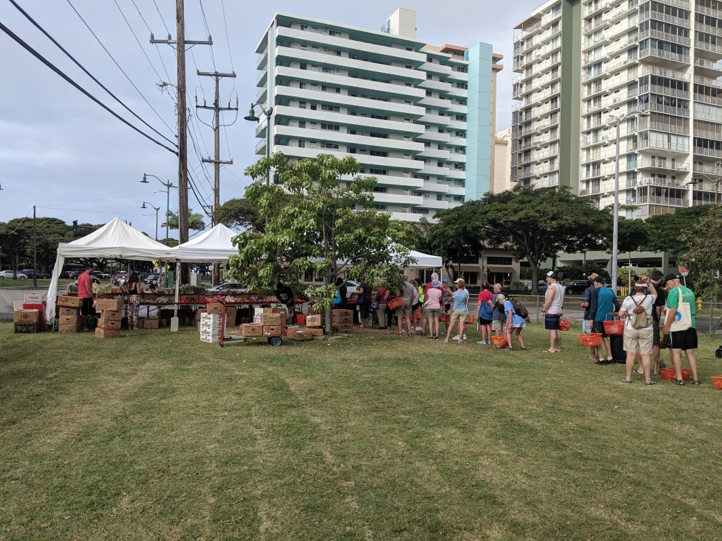 The line for produce at the Specialty Farmers Market in Waikiki