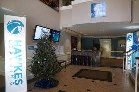 The Hawkes lobby decorated for the Olympics.