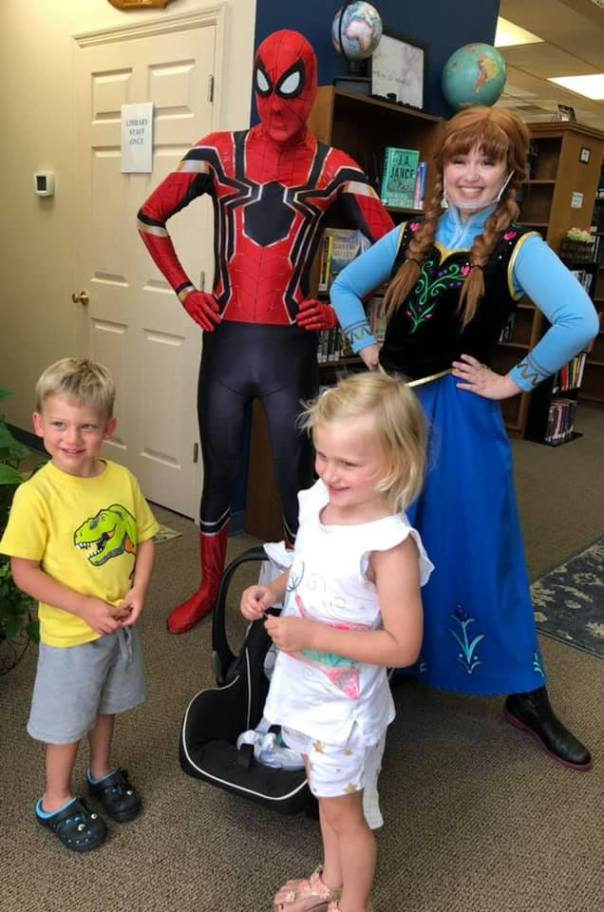 Picture of a little girl and boy with Spiderman and Princess Anna