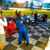 Dan and Tyler celebrate a win at Peterborough Speedway