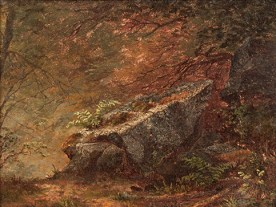 Mary Josephine Walters (1837-1883), Study of Ferns. Oil on canvas, 6 x 8 inches. Signed lower center. Collection of Hawthorne Fine Art.