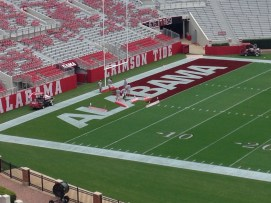 Getting ready for the opening home game of the 2014 season in Bryant-Denny Stadium