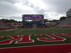 Arkansas, like most college football teams, has a unique stadium. Theirs features a massive video board on top of their field house in one end zone.