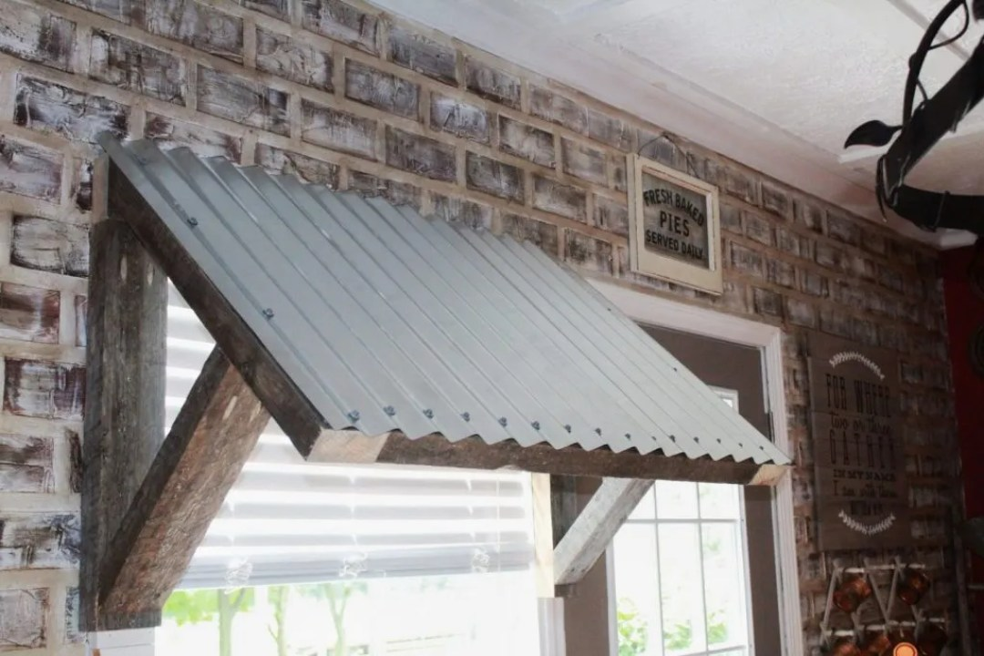 Diy Window Awnings : Corrugated metal awning diy two paws farmhouse