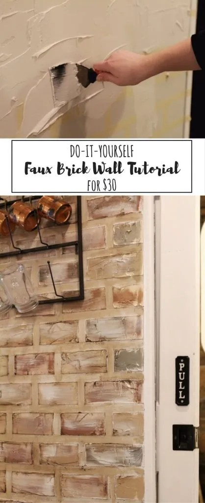 faux brick wall step by step tutorial two paws farmhouse