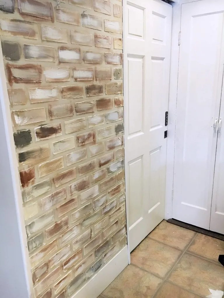 Faux Brick Wall: Step-By-Step Tutorial – Two Paws Farmhouse