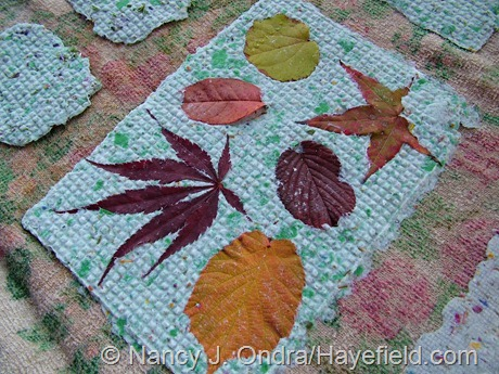 Handmade paper with embedded fall leaves