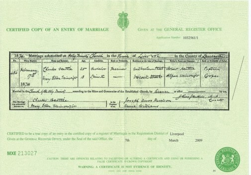 Marriage Certificate For Charles Beattie To Mary Ellen Wainwright