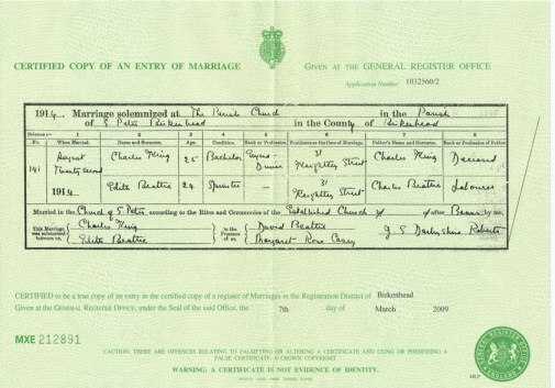 Marriage Certificate for Charles King To Edith Beattie