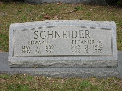Grave of Edward Schneider and Eleanor V (Tierney) Schneider
