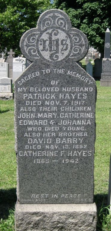 Patrick & Catherine Hayes Gravestone