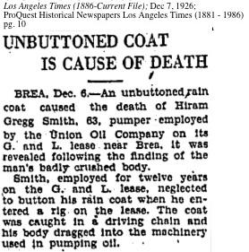 Hiram Gregg Smith Killed