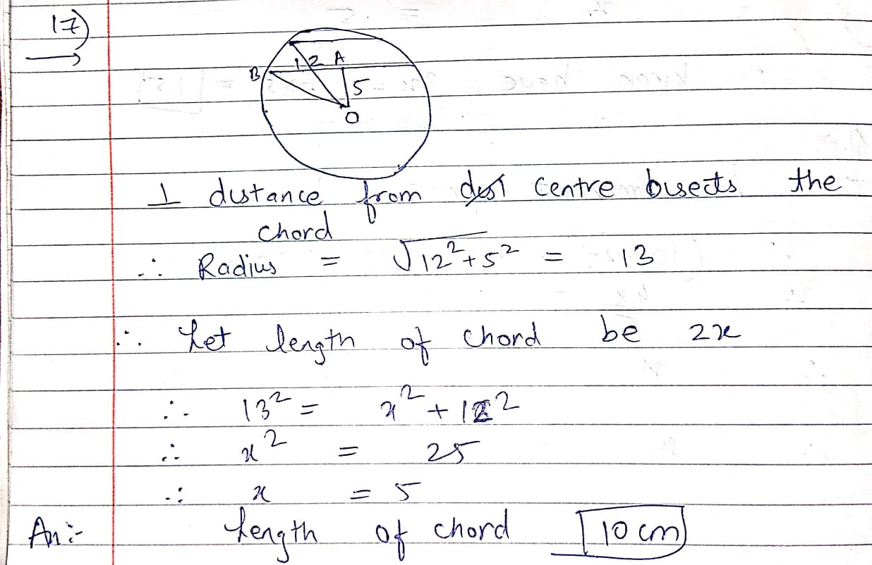 a chord of length 24 cm is at a