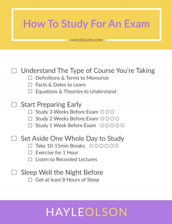 How to Study For An Exam   College Tips   Hayle Olson   www.hayleolson.com