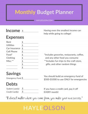 How To Make and Save Money in College + FREE Budget Planner | College Tips | Hayle Olson | www.hayleolson.com
