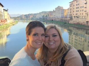 The backpack on the Ponte Vecchio Bridge.