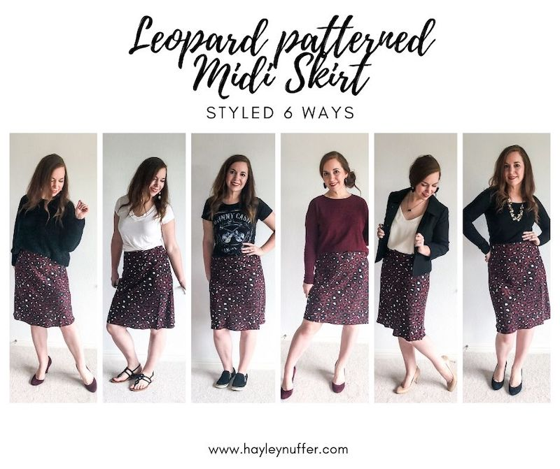 leopard patterned midi skirt