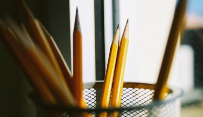 sharpened pencils in container