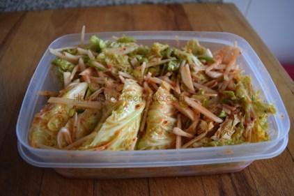 Kimchi de col rizada