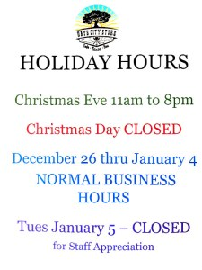 Holiday Hours for Hays City Store