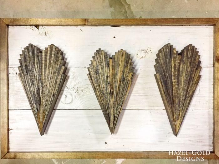 wood shim hearts, arrange hearts - dry fit