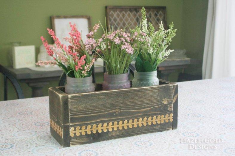 diy flowerbox centerpiece by hazel and gold designs