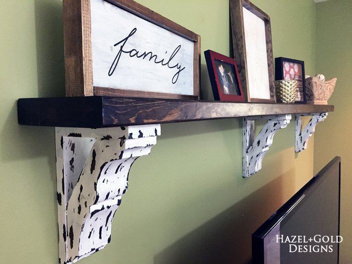 farmhouse style corbel shelf by hazel and gold designs