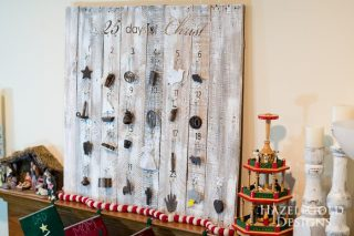 Customizable Wooden Advent Calendar- final shot of 25 days of christ on customizable wooden advent calendar