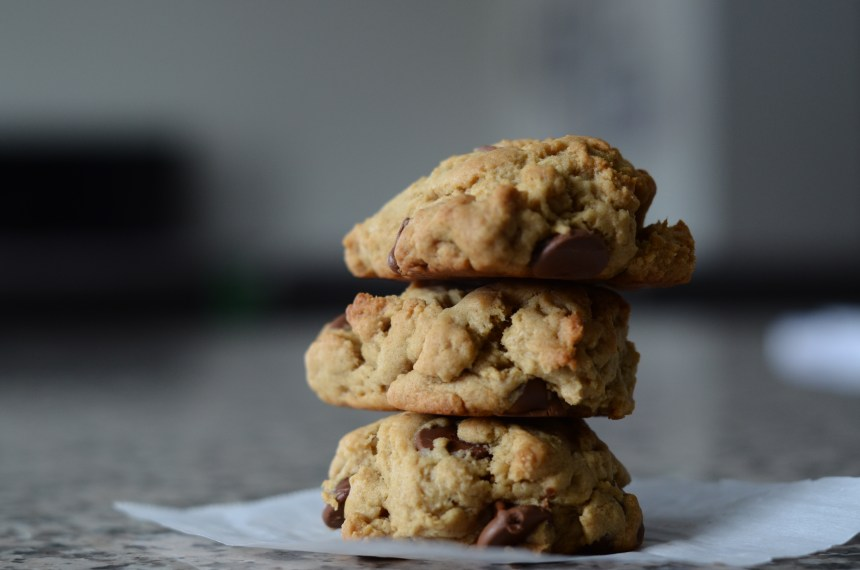 Peanut Butter – Banana – Chocolate Chip Cookies