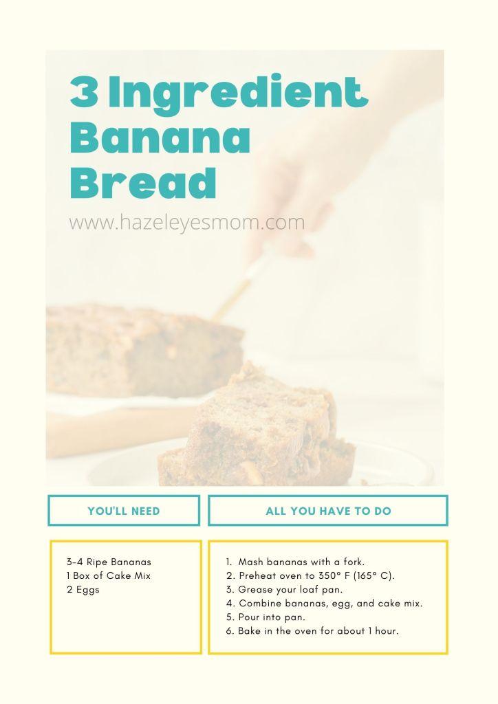 3 ingredient banana bread www.hazeleyesmom.com