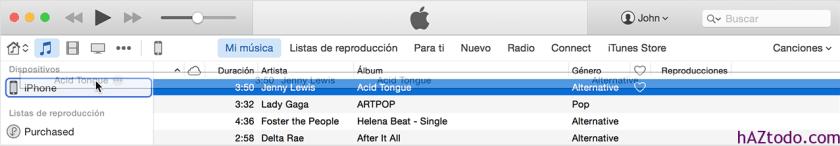 Copiar contenido de iTunes que se encuentra en el ordenador al iPhone, el iPad o el iPod touch