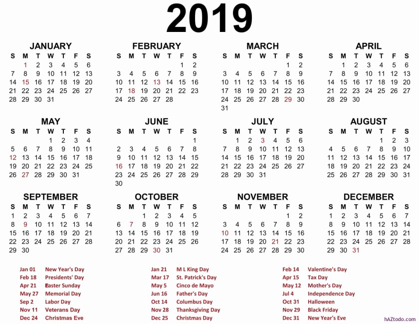 Lista de días festivos federales en Estados Unidos 2019