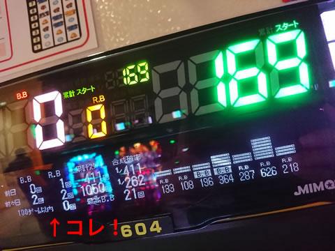 データランプ100回転以内の大当たり回数