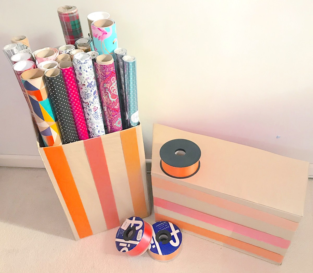 Up-cycled gift wrapping paper storage boxes 1