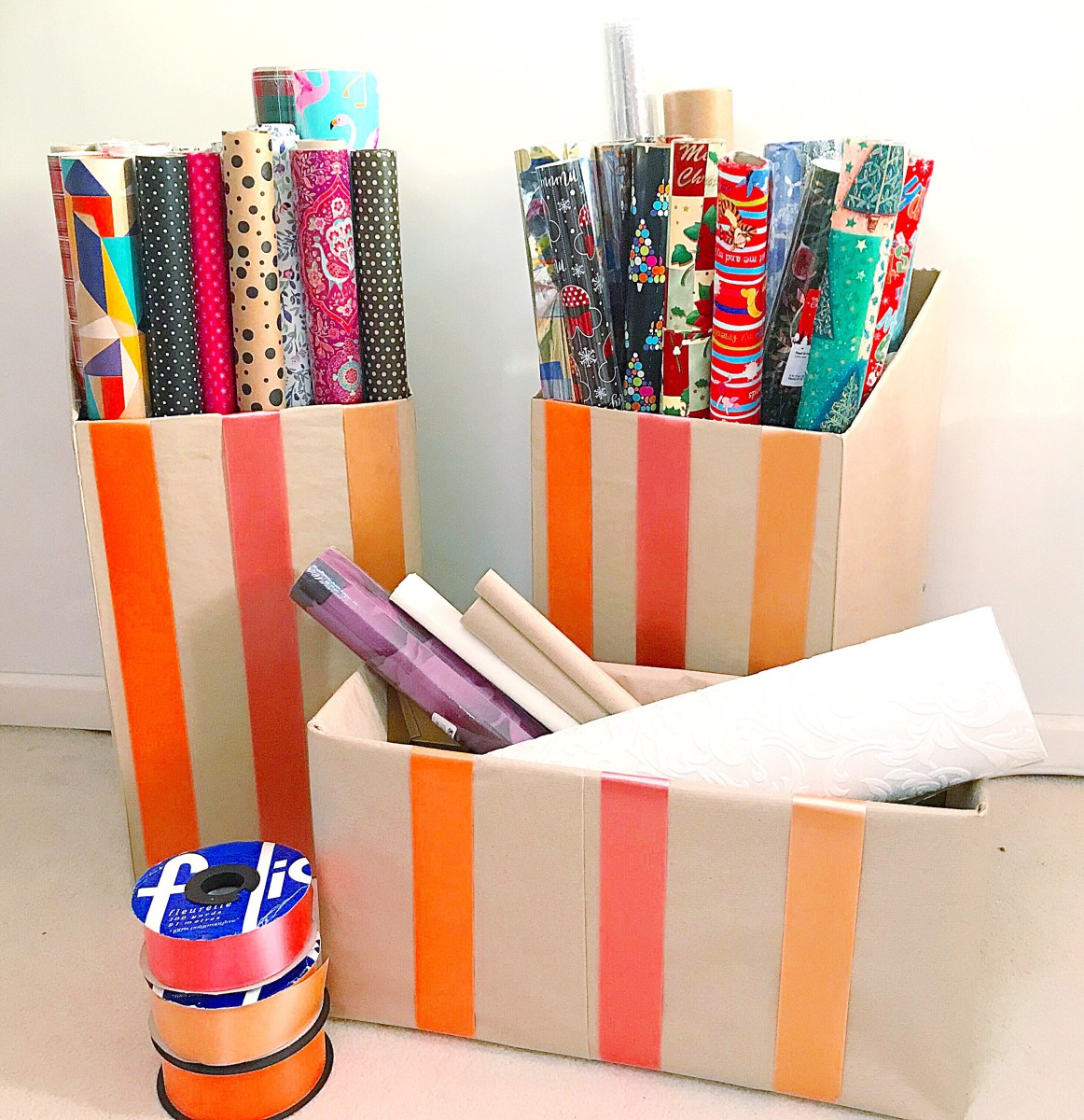 Up-cycled gift wrapping paper storage boxes 2